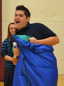 Several games were played involving sleeping bags. Some students had more fun than others...
